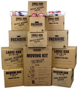 Moving Kit with 12 Moving Boxes, Bubble Wrap, Tape and Carton Marker