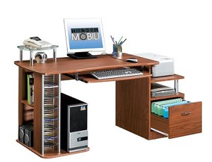 Wide Mahogany Multifunctional Computer Desk