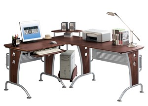 Wide Chocolate Multifunctional Corner Computer Desk