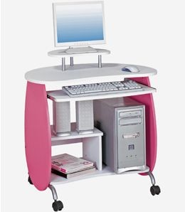Small Kids Pink And White Rolling Computer Desk