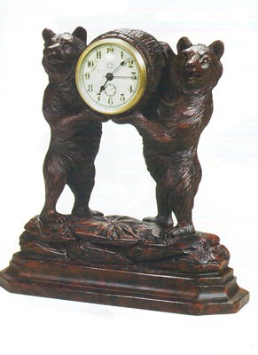 Two Bears Clock Antique Style