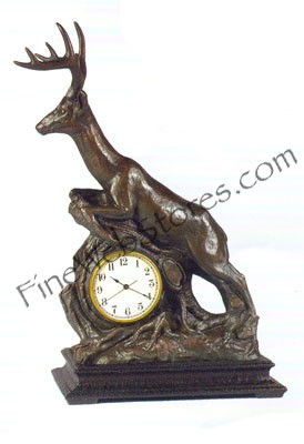 Leaping Deer Clock Antique Style