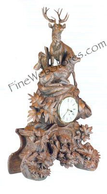 Elk Clock With Ivory Face Antique Style