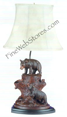 Two Bears On A Tree Stump Lamp