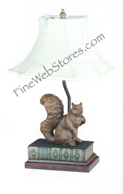 Large Squirrel On Green Book Lamp