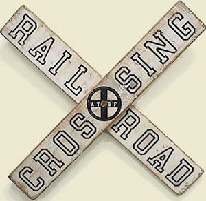 Railroad Crossing Old West Sign