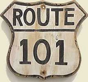 Route 101 Old West Sign
