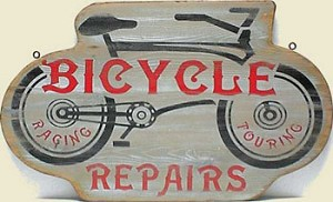 Bicycle Repairs Old West Sign