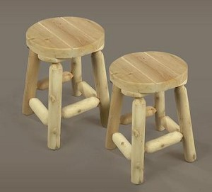 Unstained Natural Cedar 18 Inch Bar Stool