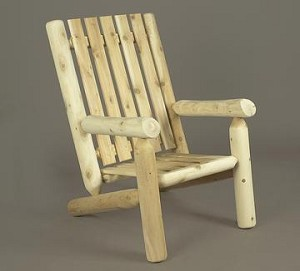 Unstained Natural Cedar High Back Arm Chair