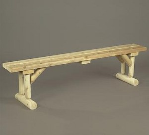 Unstained Natural Cedar Dining Table Bench