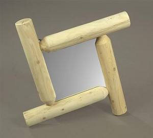 Unstained Natural Cedar Frontier Log Mirror