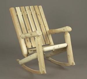 Unstained Natural Cedar High Back Rocker Chair