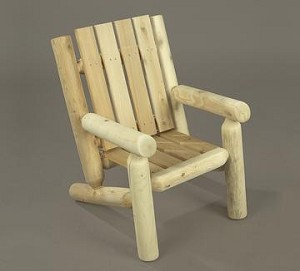 Unstained Natural Cedar Junior Log Chair
