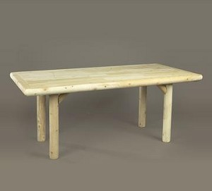 Unstained Natural Cedar Solid Top Family Dining Table