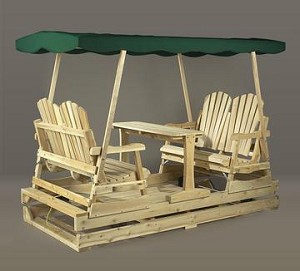 Unstained Natural Cedar Log Style Deluxe Garden Glider Green Top