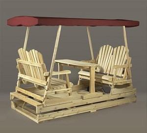 Unstained Natural Cedar Log Style Deluxe Garden Glider Burgundy Top