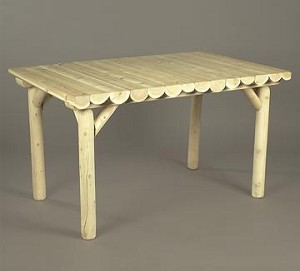 Unstained Natural Cedar Rectangular Dining Table