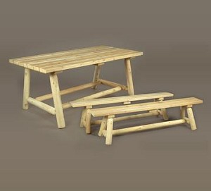 Unstained Natural Cedar Classic Farmer's Table and Bench Set