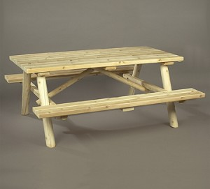 Unstained Natural Cedar Log Picnic Table