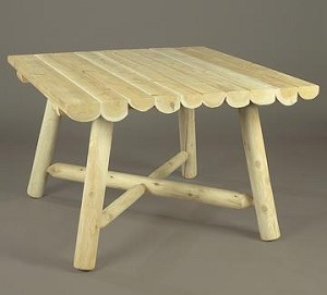 Unstained Natural Cedar Large Square Table