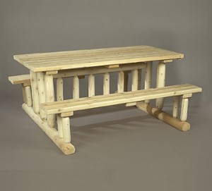 Unstained Natural Cedar Park Style Picnic Table