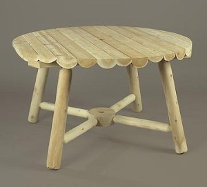Unstained Natural Cedar Round Umbrella Table