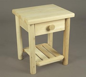 Unstained Natural Cedar Night Table with Drawer