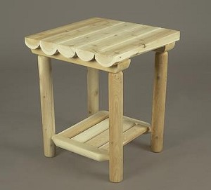 Unstained Natural Cedar Night Table without Drawer