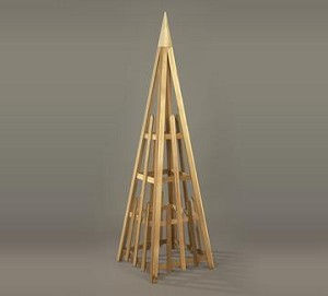 Unstained Natural Cedar Obelisk Style Sculpture