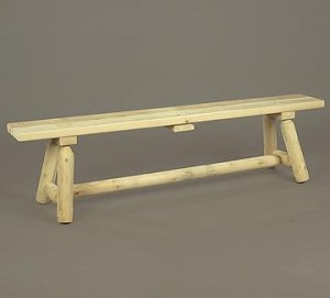 Unstained Natural Cedar Six foot Long Straight Bench