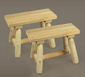 Unstained Natural Cedar Small Straight Bench