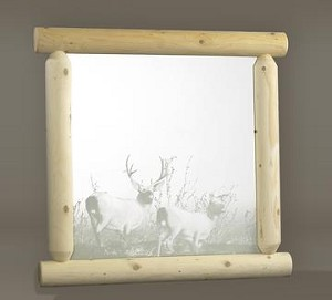 Unstained Natural Cedar Wilderness Mirror with Etching