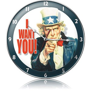 Uncle Sam Metal Clock