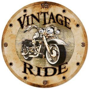Vintage Ride Metal Clock
