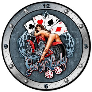 Get N Lucky Metal Clock