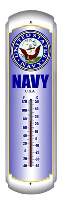Navy Metal Thermometer