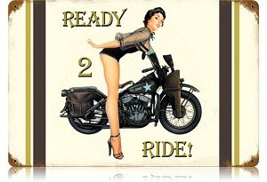 Ready to Ride Vintage Metal Sign