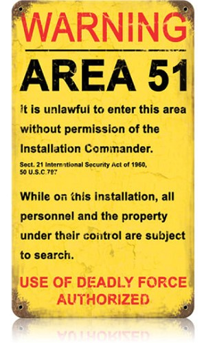 Area 51 Vintage Metal Sign