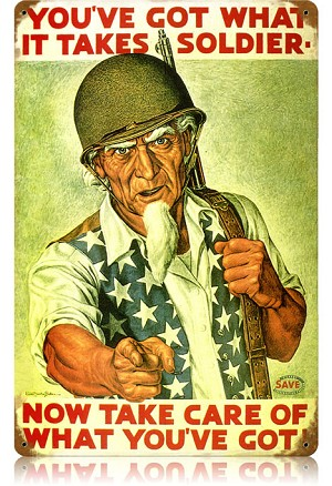 Uncle Sam Soldier Vintage Metal Sign