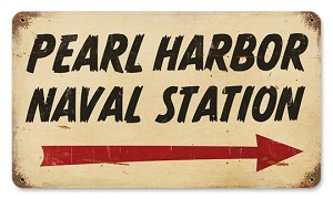 Pearl Harbor Naval Station Vintage Metal Sign