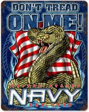 Navy Don't Tread On Me Vintage Metal Sign