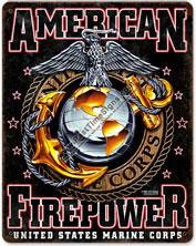 USMC Firepower Vintage Metal Sign