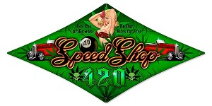 420 Speed Shop Vintage Metal Sign