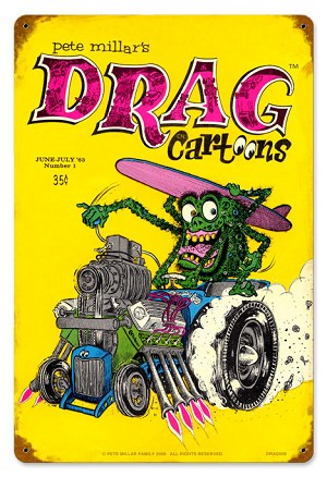 Drag Cartoons Cover June 1963 Metal Sign
