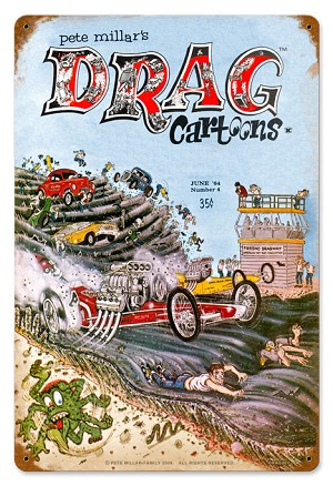Drag Cartoons Cover June 1964 Metal Sign