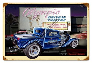 Olympic Drive-In Theater Vintage Metal Sign
