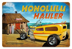 Honolulu Hauler Vintage Metal Sign