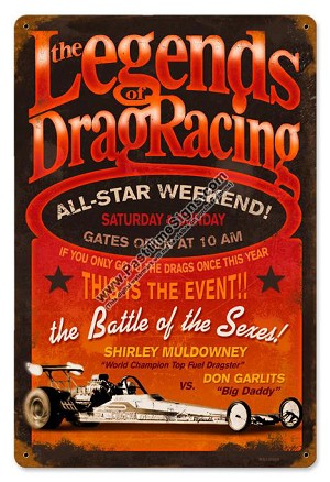 Legends of Drag Racing Vintage Metal Sign