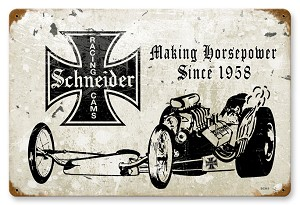 Schneider Racing Cams Vintage Metal Sign